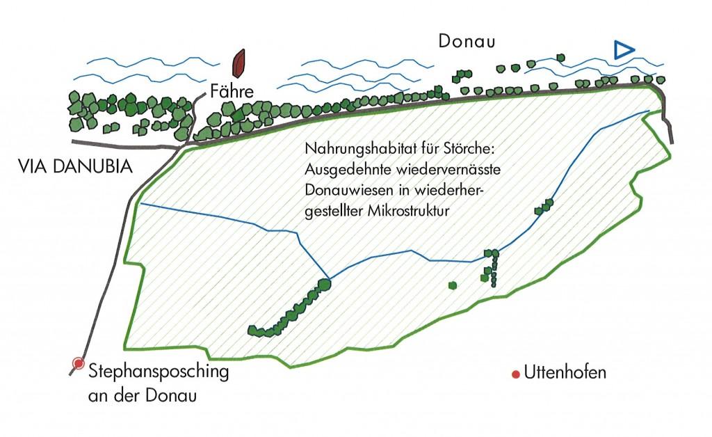 Karte für das Naturhabitat für Störche
