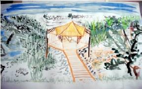 Gemälde eines Tea-House und Fishers Place