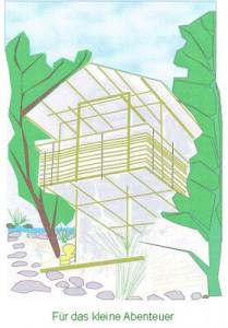 Bild von der Skizze eines Baumhaus-Hotels
