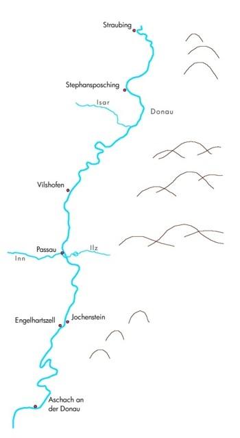 Karte des Donauprojektes: Grenzüberschreitendes Biospärengebiet FLUSSLANDSCHAFT DONAU von Straubing bis Aschach a. d. Donau