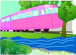 Zeichnung von der Wanderbahn am Fluss